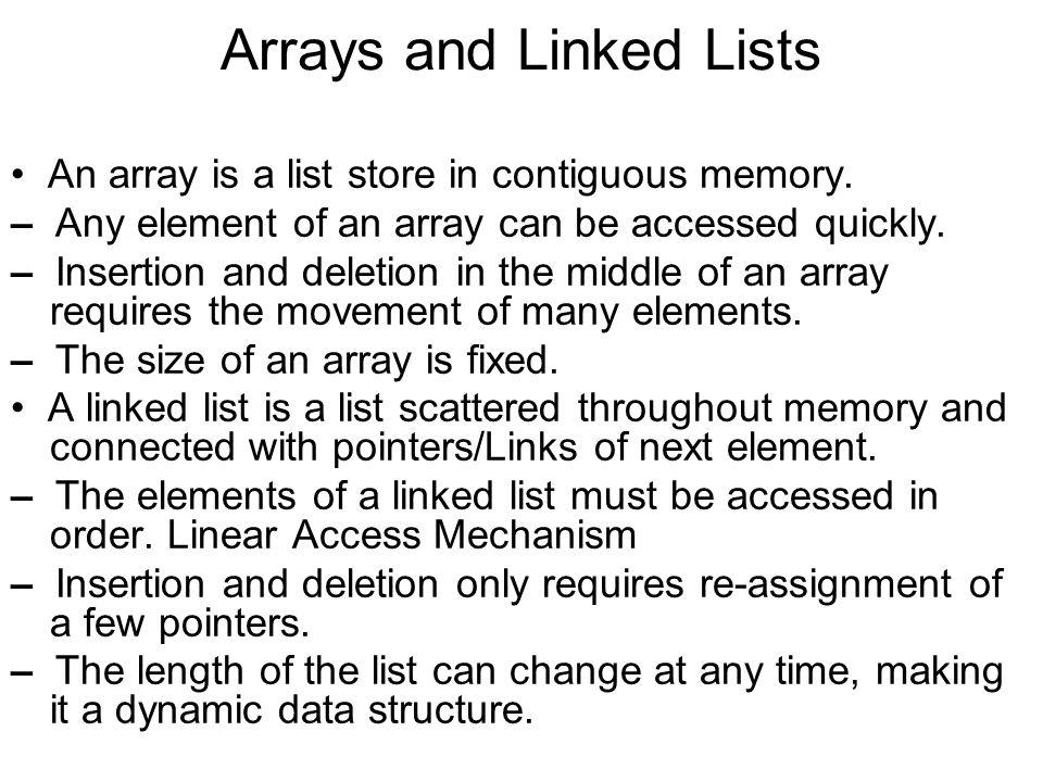 Arrays and Linked Lists