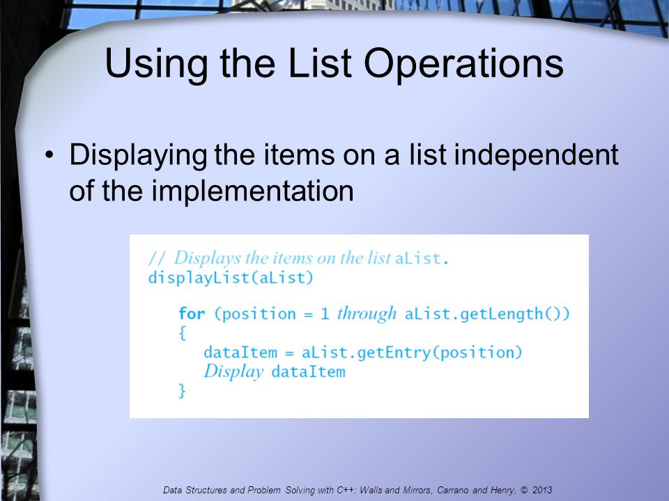 Using the List Operations