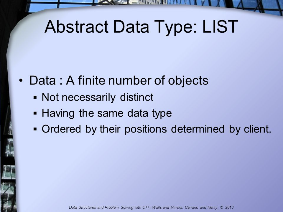 Abstract Data Type: LIST