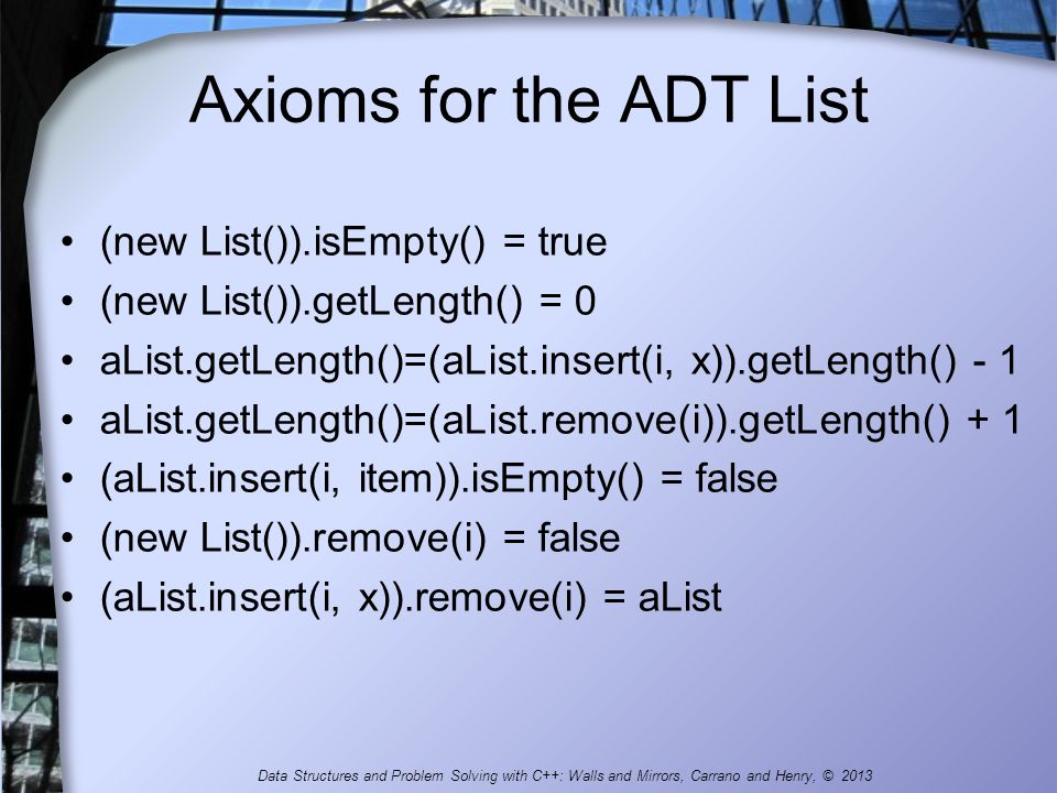 Axioms for the ADT List (new List()).isEmpty() = true
