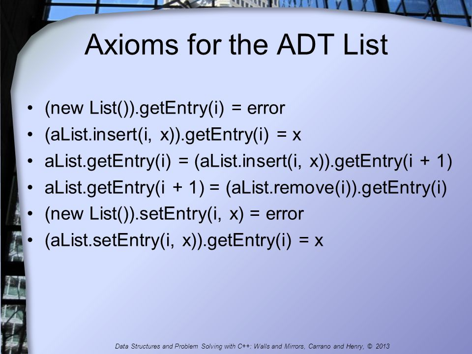 Axioms for the ADT List (new List()).getEntry(i) = error