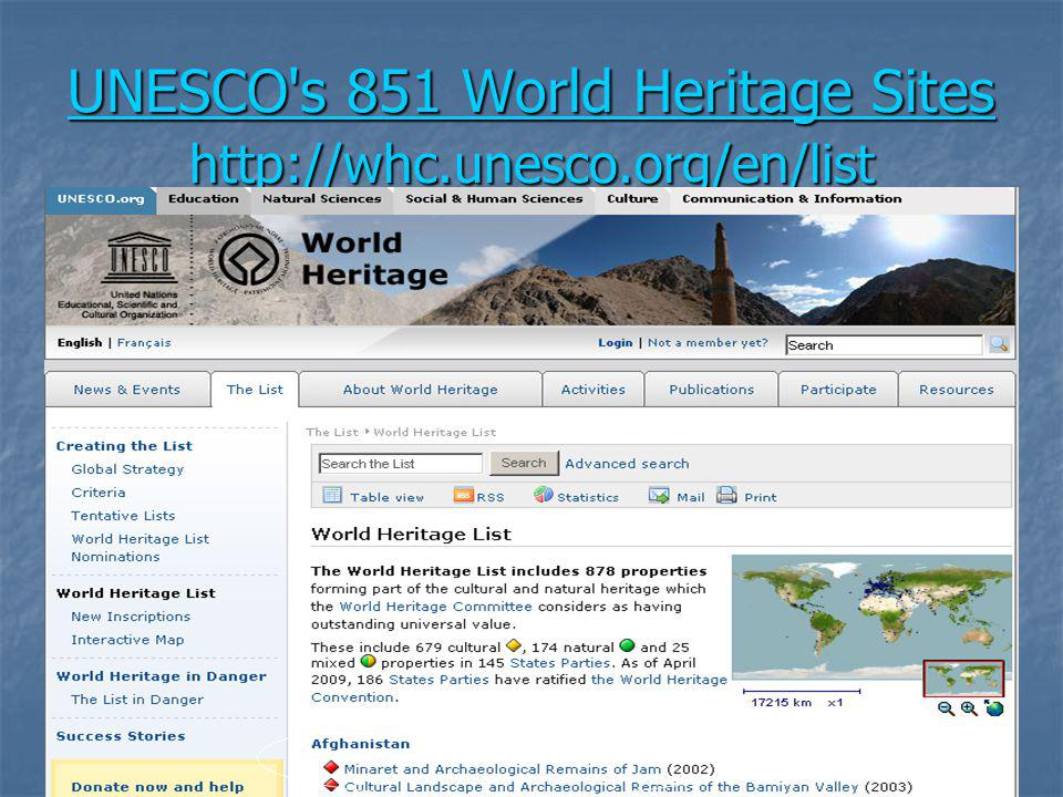 UNESCO s 851 World Heritage Sites