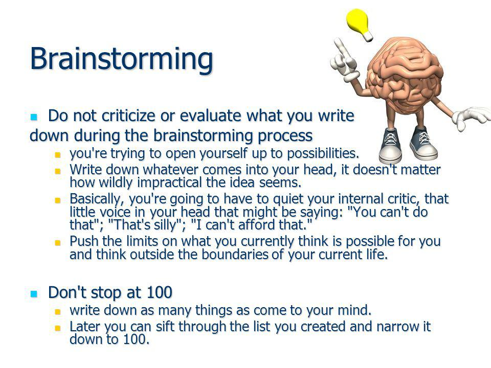 Brainstorming Do not criticize or evaluate what you write