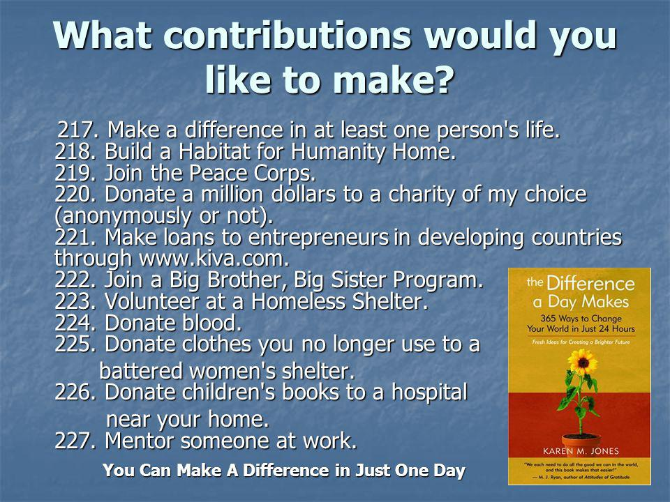 What contributions would you like to make