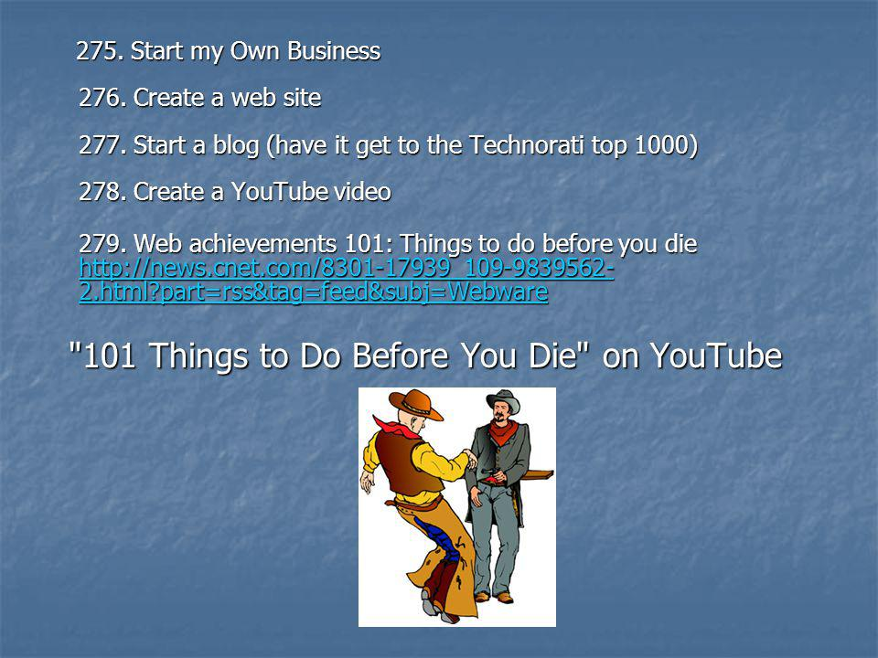 101 Things to Do Before You Die on YouTube
