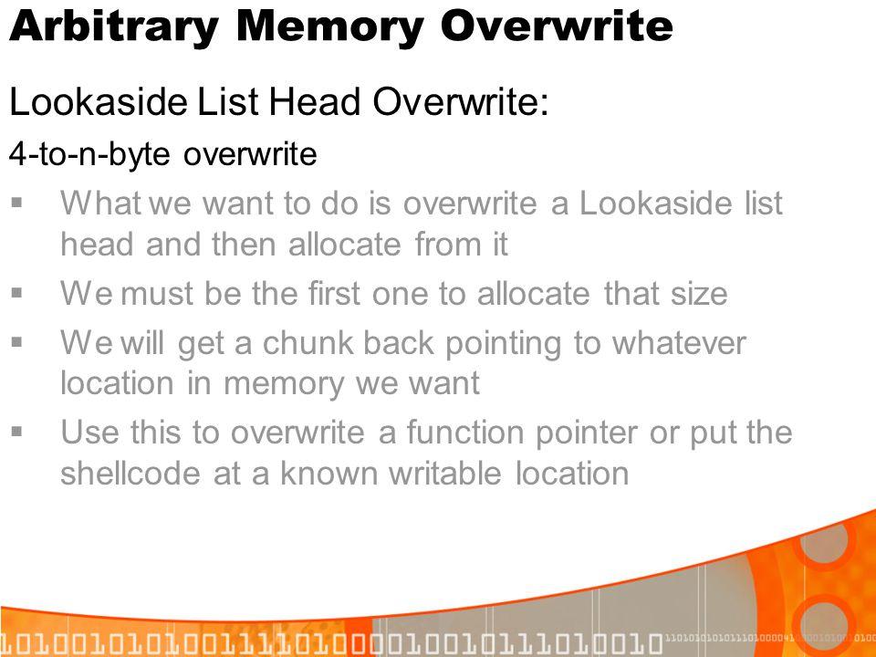 Arbitrary Memory Overwrite