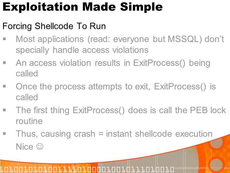 Exploitation Made Simple