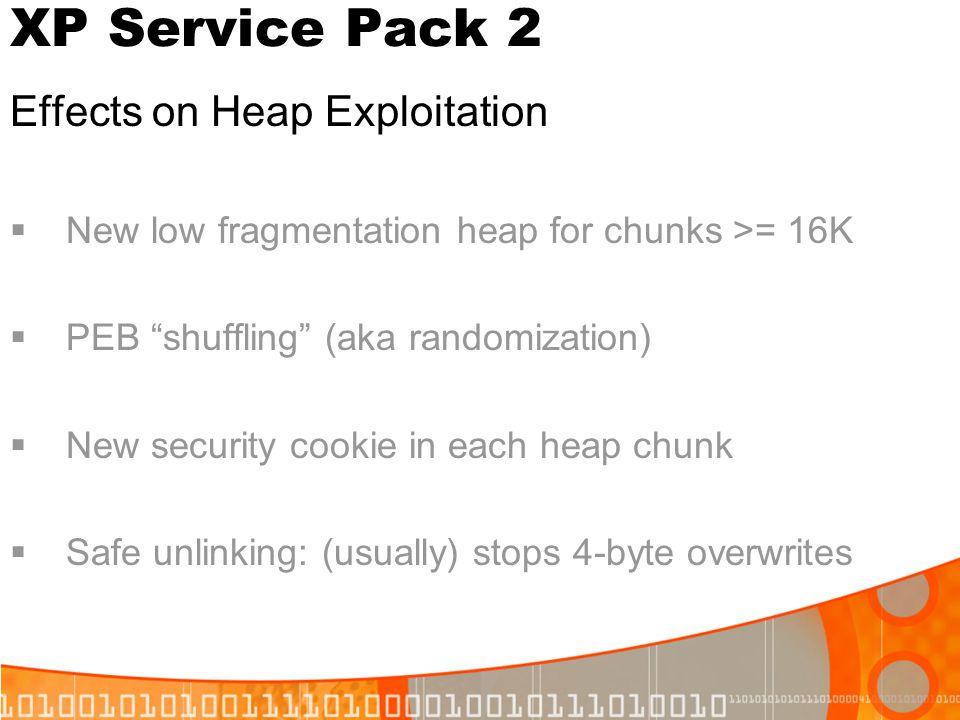 XP Service Pack 2 Effects on Heap Exploitation