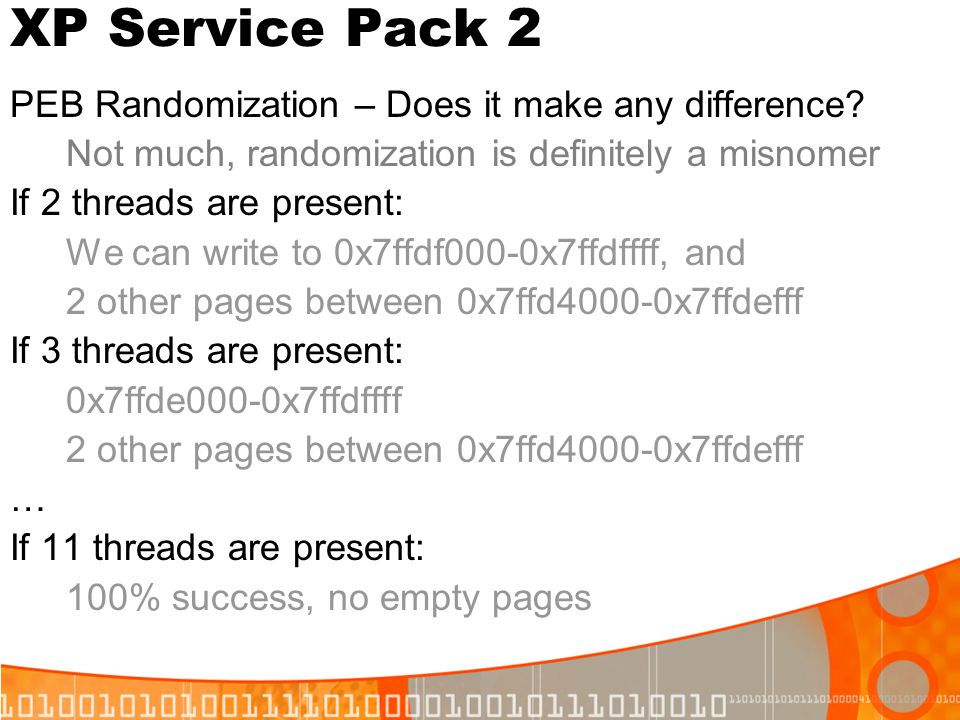 XP Service Pack 2 PEB Randomization – Does it make any difference