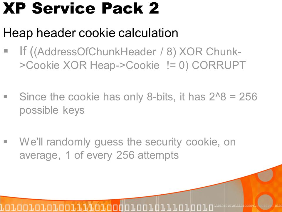 XP Service Pack 2 Heap header cookie calculation
