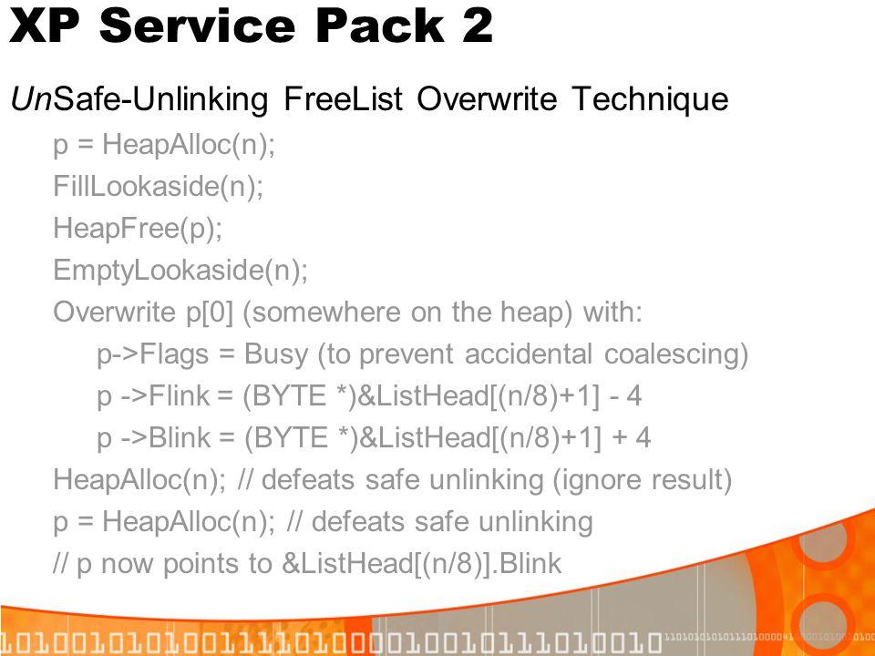 XP Service Pack 2 UnSafe-Unlinking FreeList Overwrite Technique