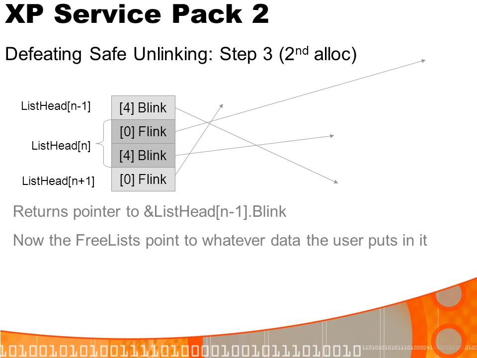 XP Service Pack 2 Defeating Safe Unlinking: Step 3 (2nd alloc)