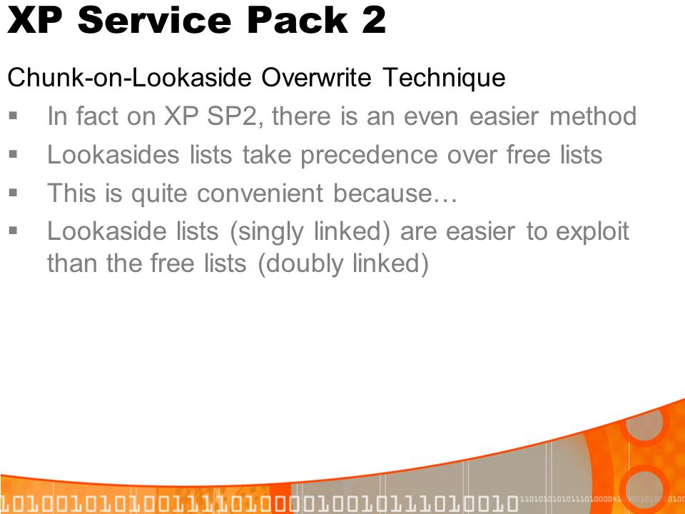 XP Service Pack 2 Chunk-on-Lookaside Overwrite Technique