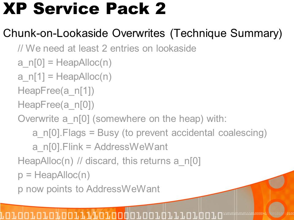 XP Service Pack 2 Chunk-on-Lookaside Overwrites (Technique Summary)