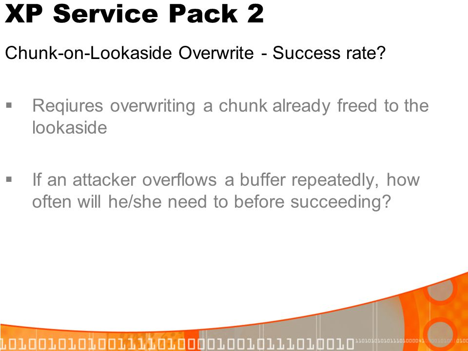 XP Service Pack 2 Chunk-on-Lookaside Overwrite - Success rate
