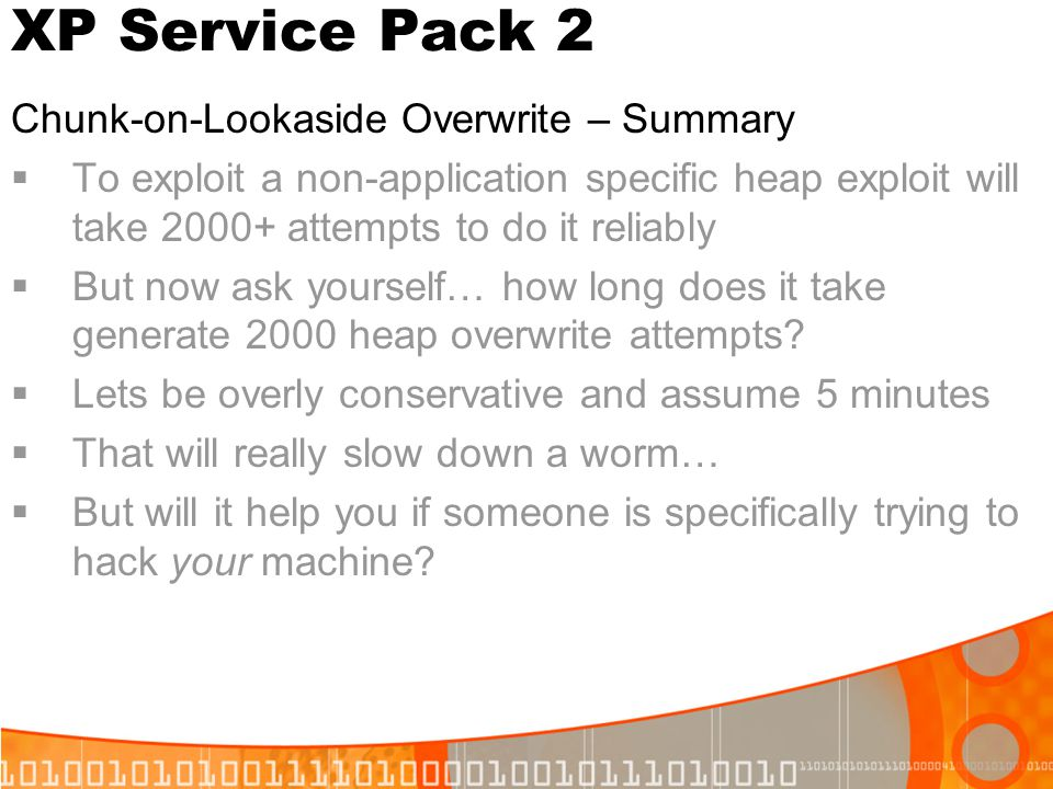 XP Service Pack 2 Chunk-on-Lookaside Overwrite – Summary