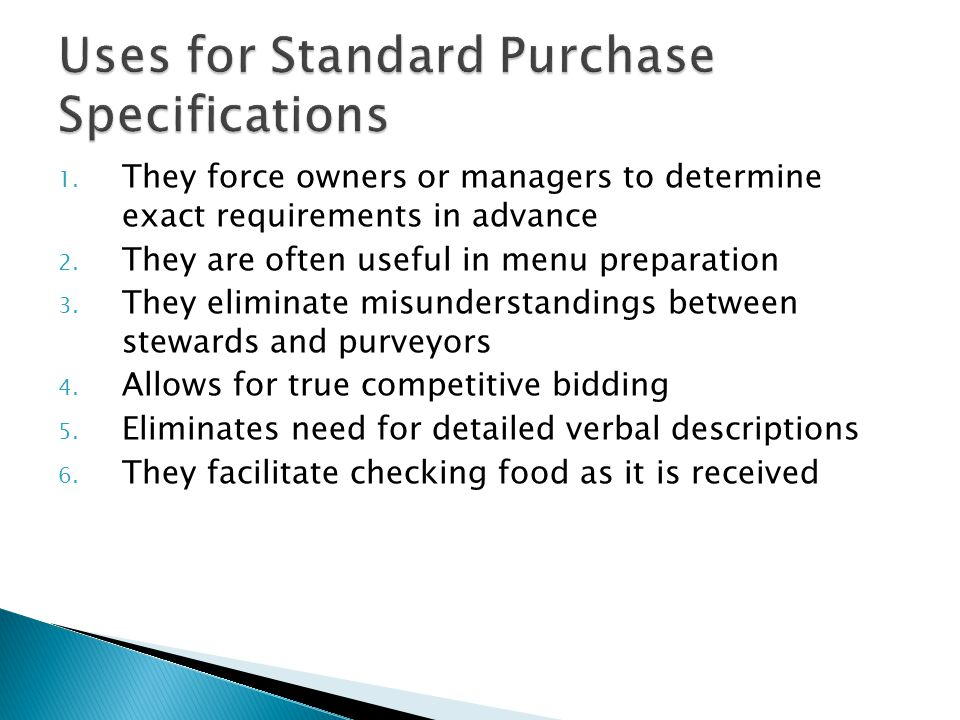 Uses for Standard Purchase Specifications