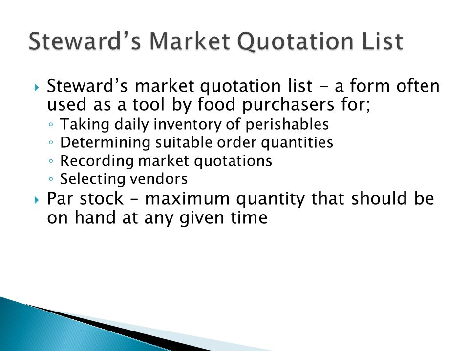 Steward's Market Quotation List