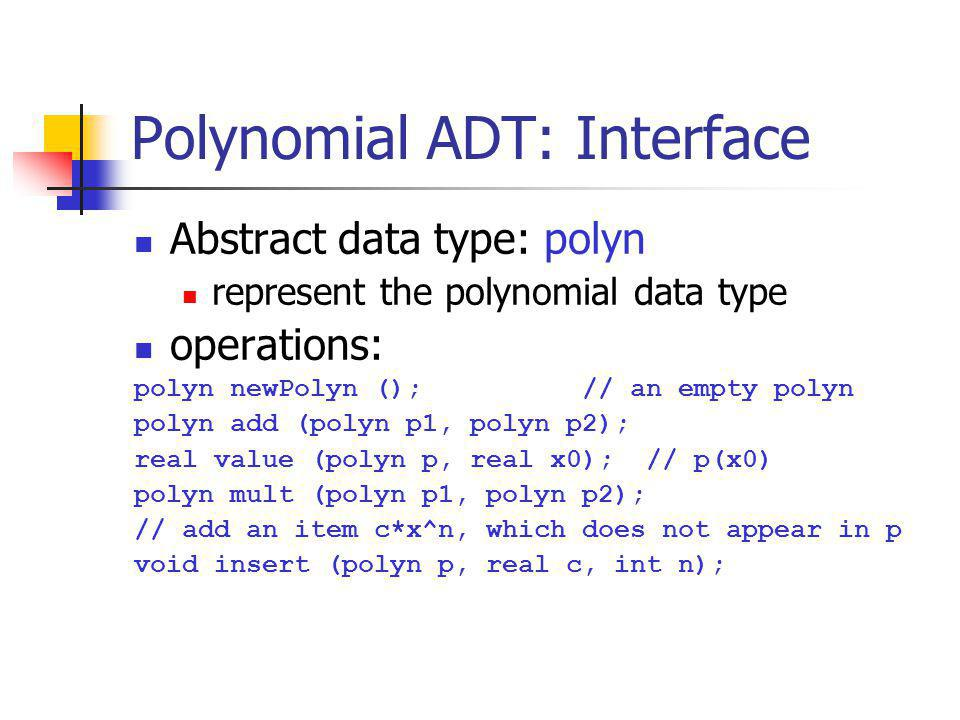 Polynomial ADT: Interface