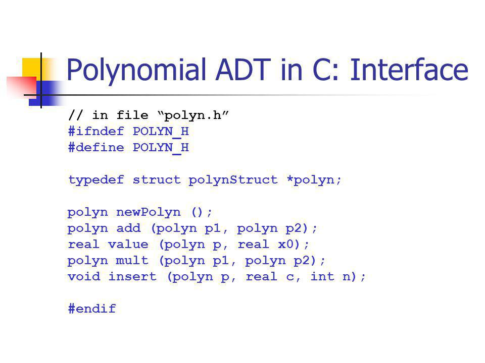 Polynomial ADT in C: Interface