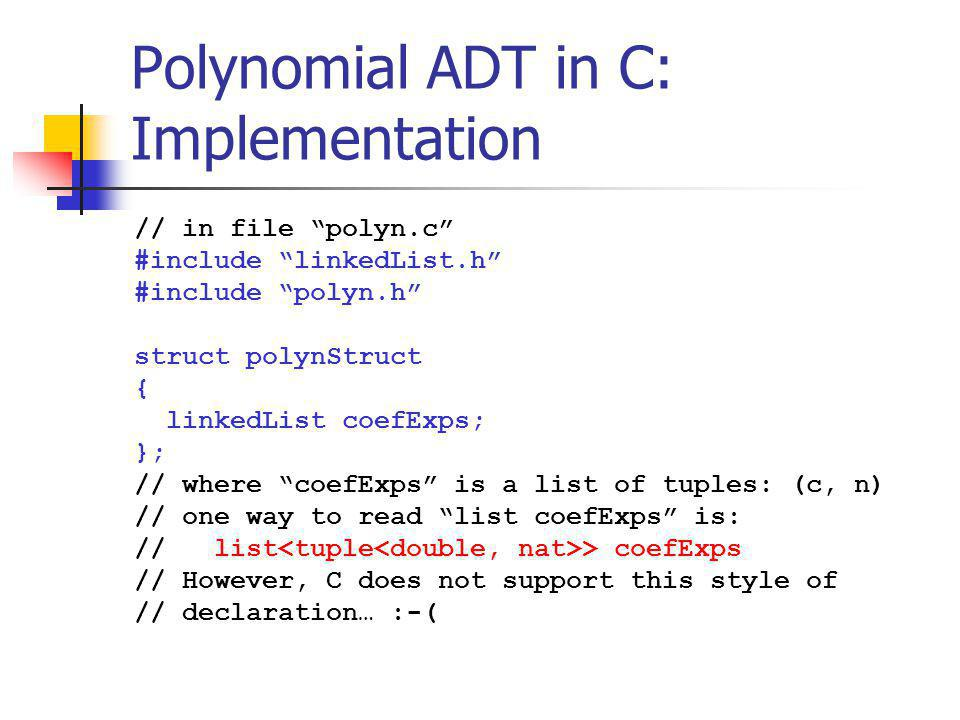 Polynomial ADT in C: Implementation