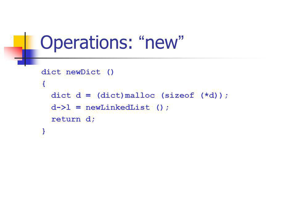 Operations: new dict newDict () {