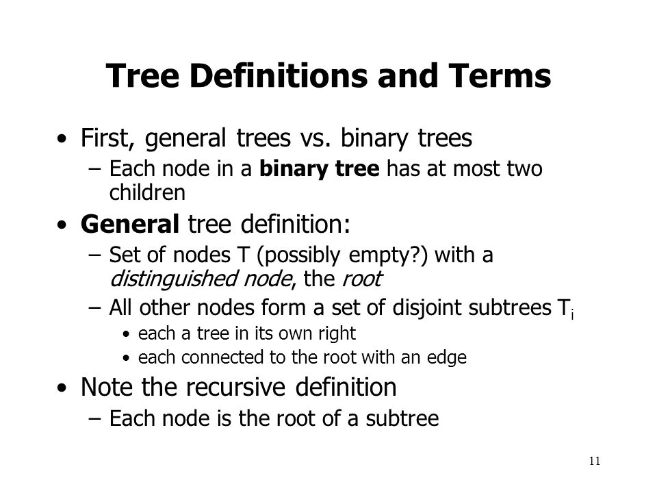 Tree Definitions and Terms