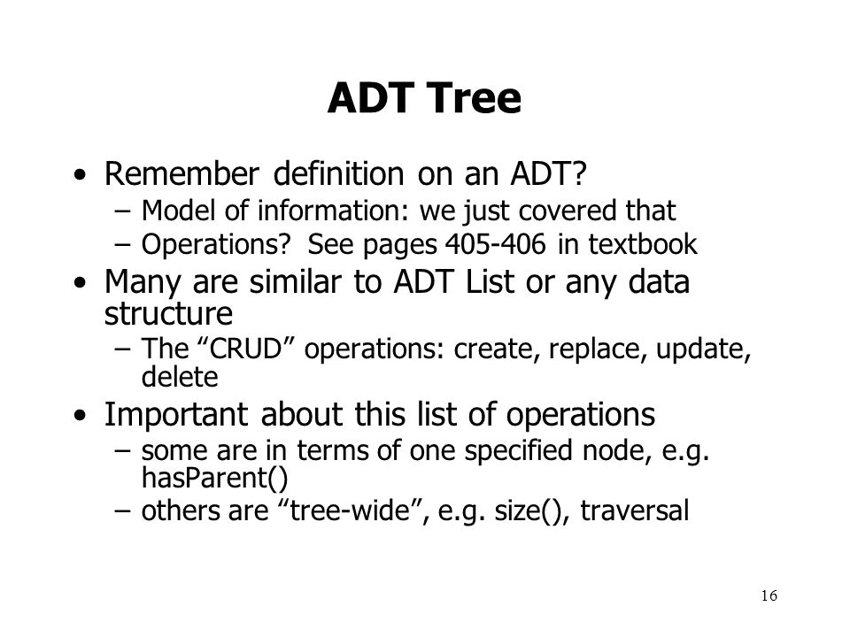 ADT Tree Remember definition on an ADT