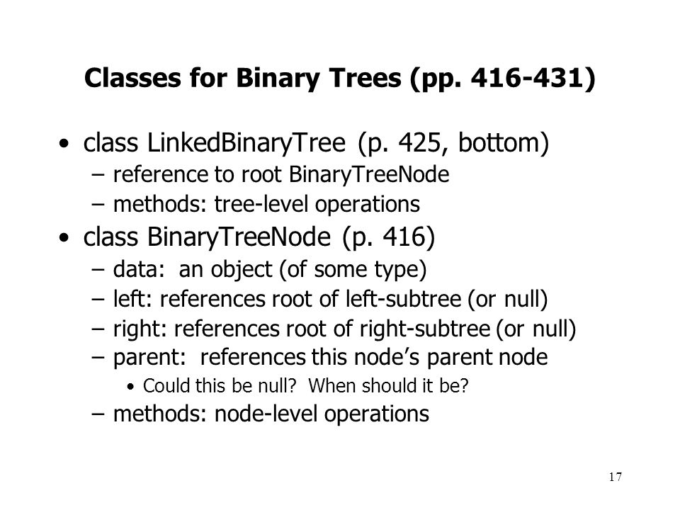 Classes for Binary Trees (pp. 416-431)