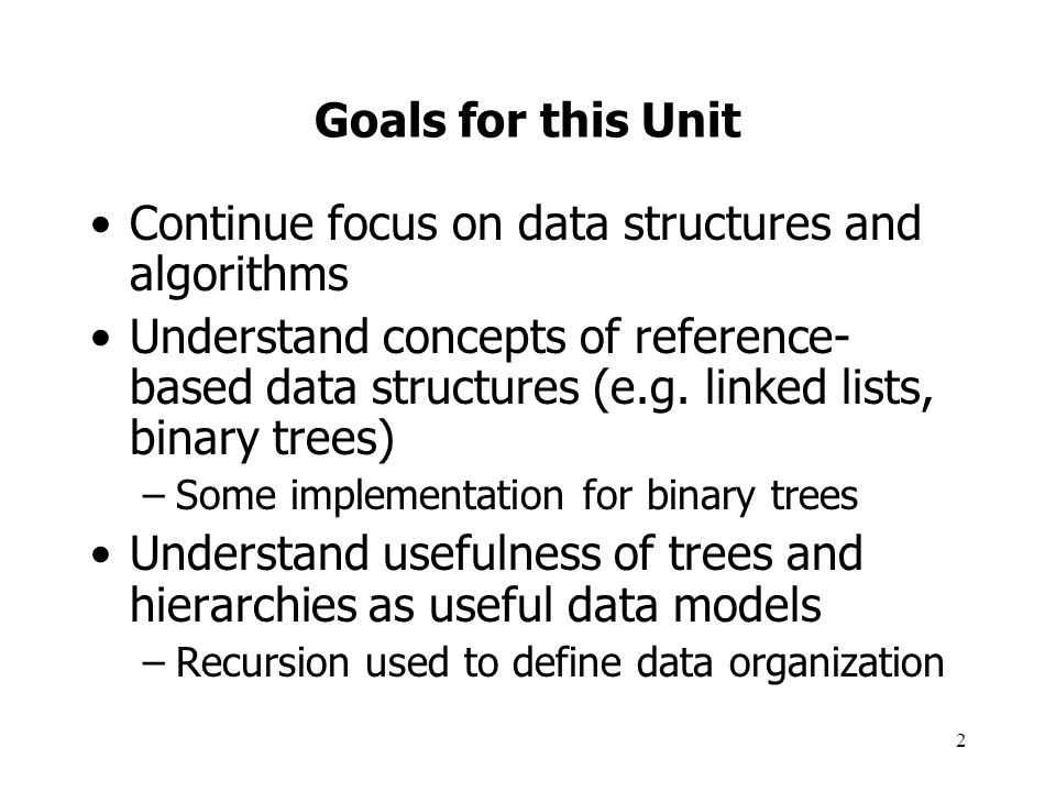 Continue focus on data structures and algorithms