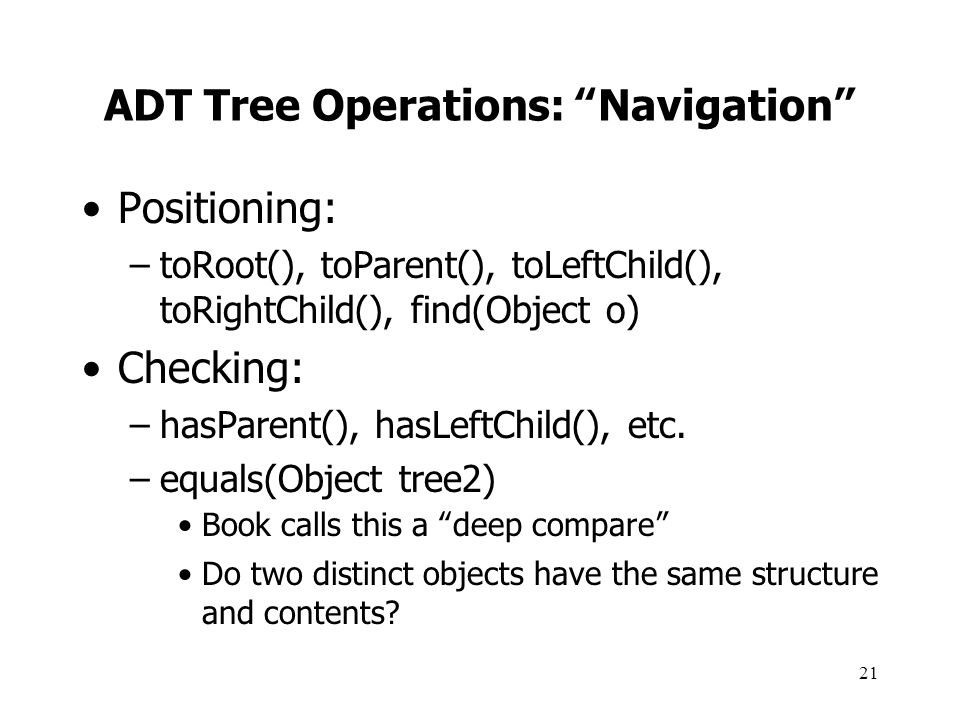 ADT Tree Operations: Navigation