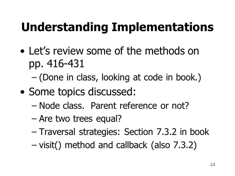 Understanding Implementations