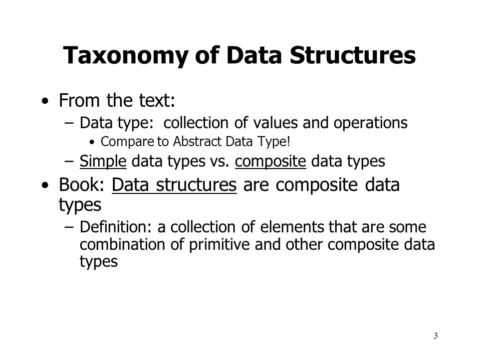 Taxonomy of Data Structures