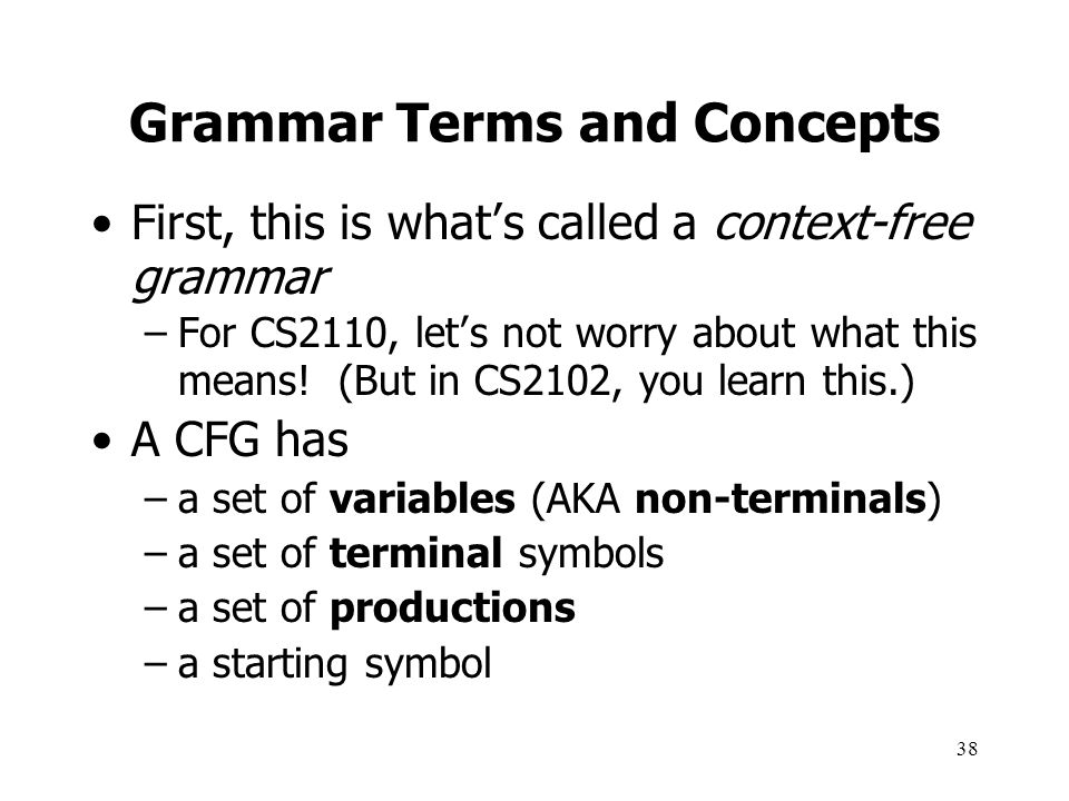 Grammar Terms and Concepts