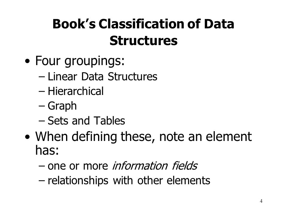 Book's Classification of Data Structures