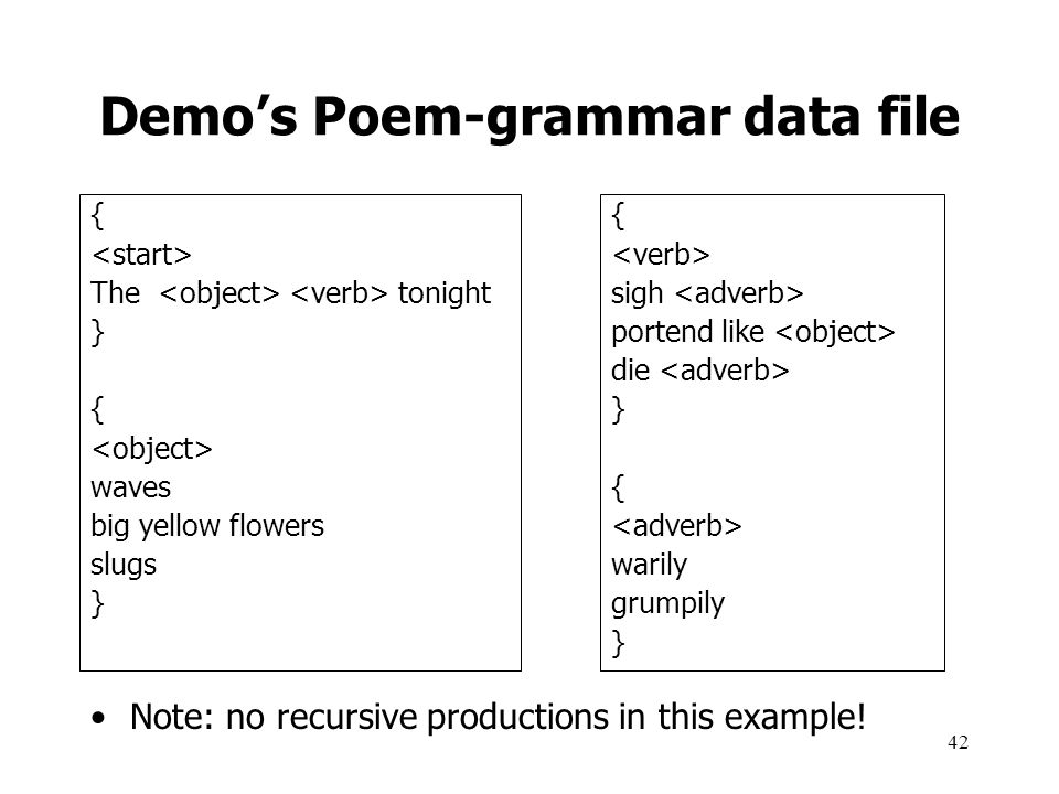 Demo's Poem-grammar data file