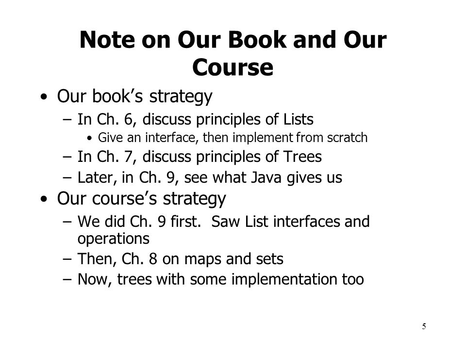 Note on Our Book and Our Course