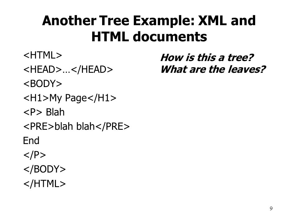 Another Tree Example: XML and HTML documents
