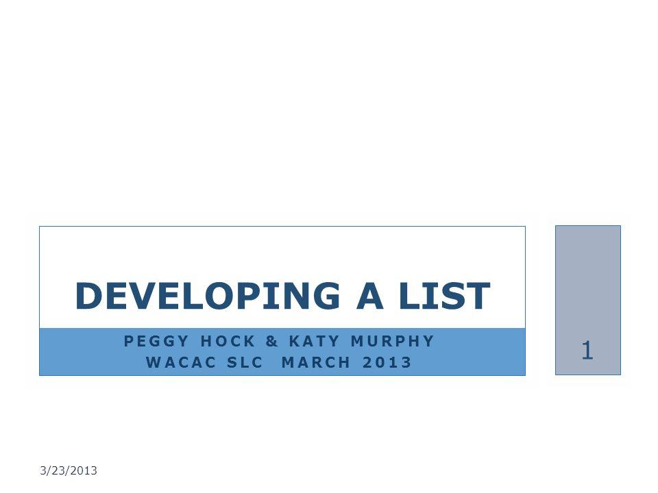 PEGGY HOCK & KATY MURPHY WACAC SLC MARCH 2013