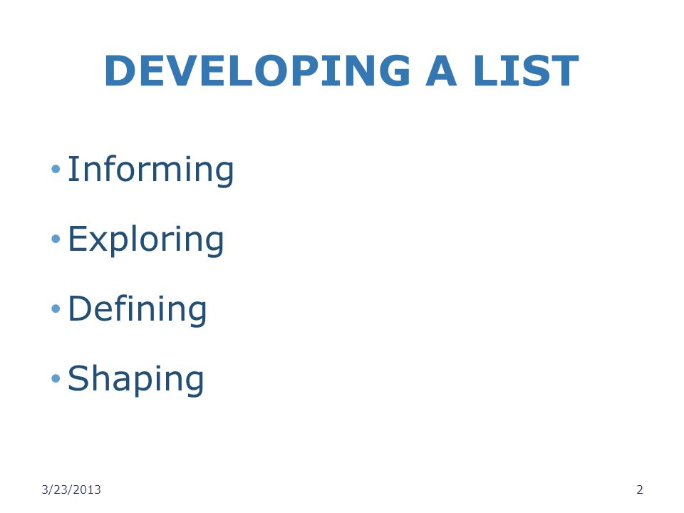 DEVELOPING A LIST Informing Exploring Defining Shaping