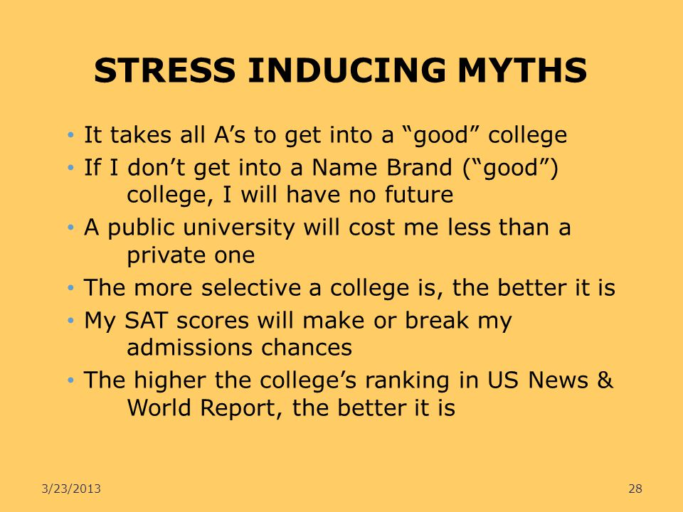 STRESS INDUCING MYTHS It takes all A's to get into a good college