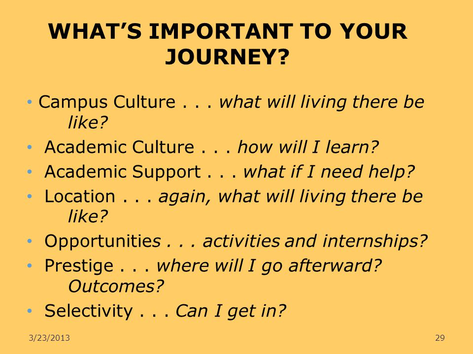 WHAT'S IMPORTANT TO YOUR JOURNEY