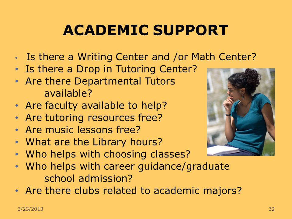 ACADEMIC SUPPORT Is there a Drop in Tutoring Center