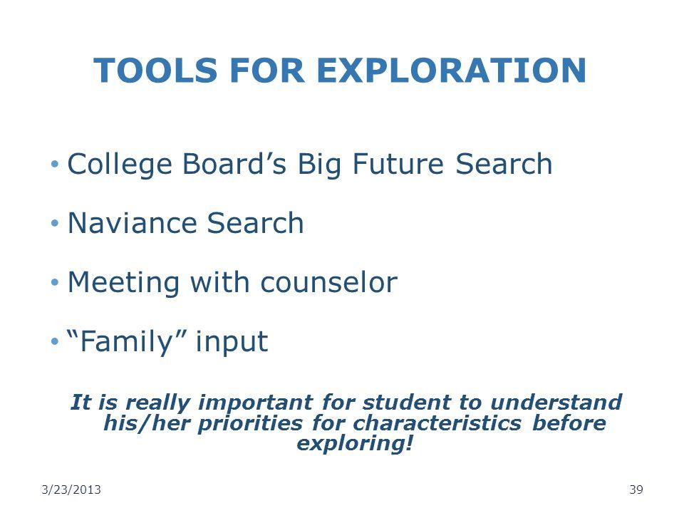 TOOLS FOR EXPLORATION College Board's Big Future Search