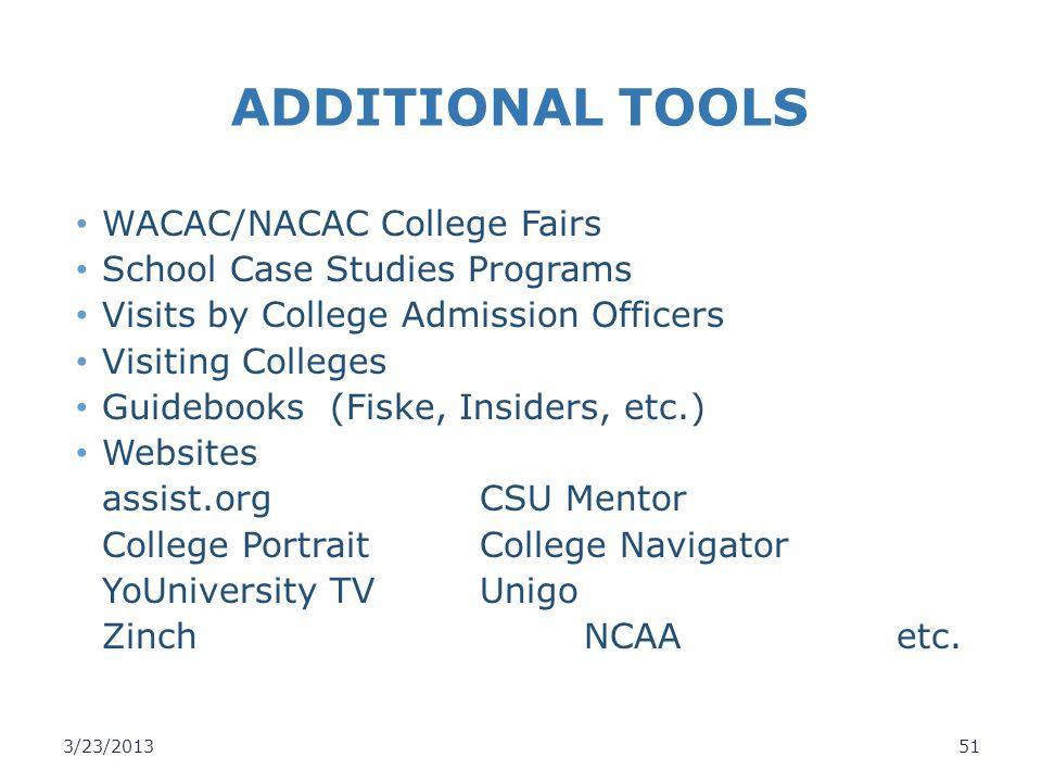ADDITIONAL TOOLS WACAC/NACAC College Fairs