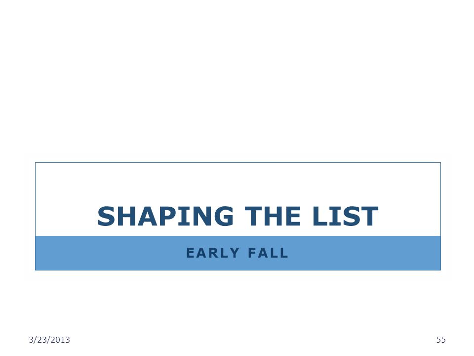 SHAPING THE LIST EARLY FALL 3/23/2013