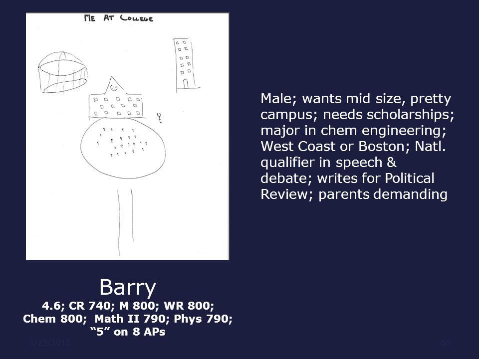 Barry Male; wants mid size, pretty campus; needs scholarships;