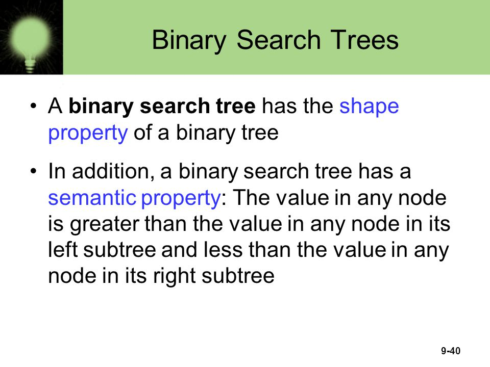Binary Search Trees A binary search tree has the shape property of a binary tree.