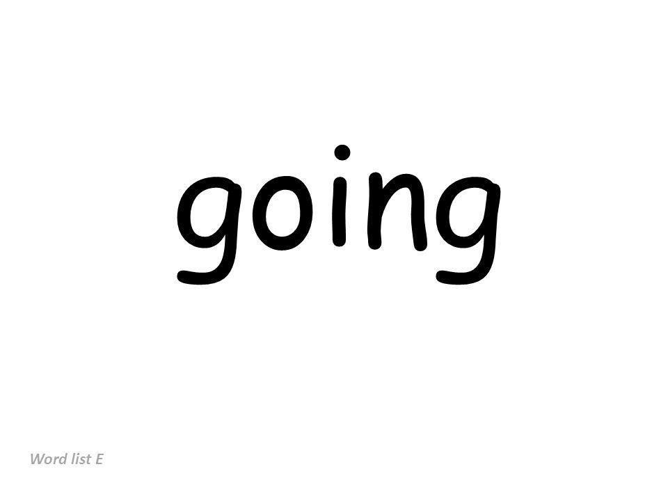 going Word list E