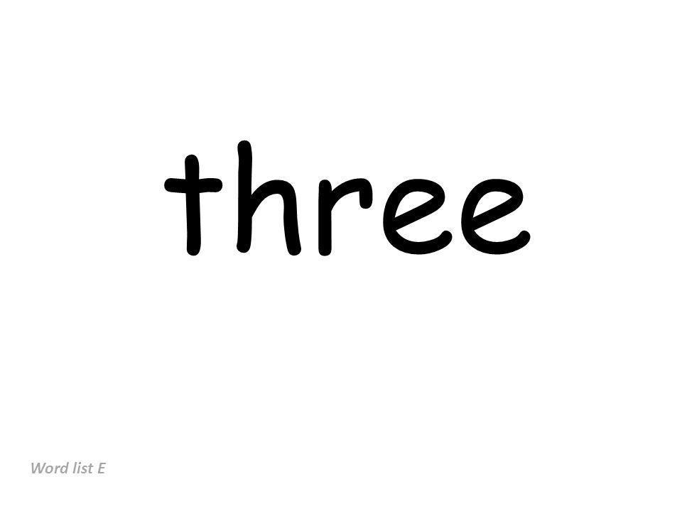 three Word list E
